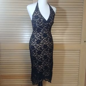 Lace Overlay Halter Dress Black and Nude Large